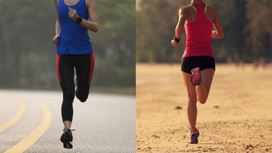 correr na areia ou no asfalto